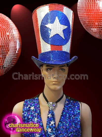CHARISMATICO 4th of July sequinned red, blue and white flag hat