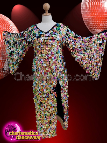 CHARISMATICO  multiple coloured V neck gown with sequins and side slit