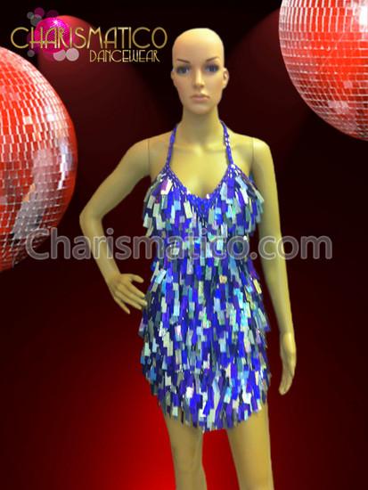 CHARISMATICO Blue Glam Diva Sequin dance Mini-Dress with Jumbo Drop Sequin Fringe