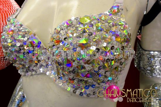 CHARISMATICO Cabaret Floor Show White Sequin Embellished Iridescent Crystal Spiked Bra
