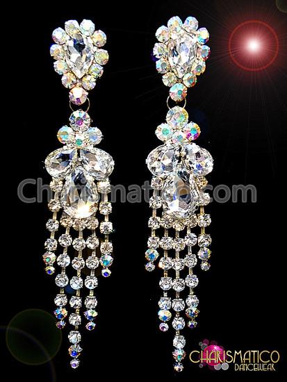 Lovely iridescent divas crystal silver rhinestone chandelier style charismatico lovely iridescent divas crystal silver rhinestone chandelier style stud earrings aloadofball Images