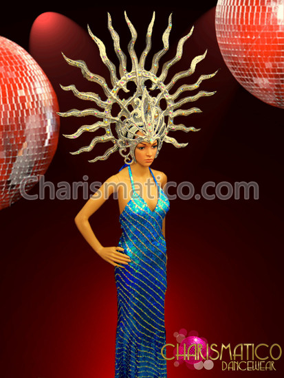 CHARISMATICO Bright Blue Diagonal Striped Pageant Gown with Shiva Inspired Headdress