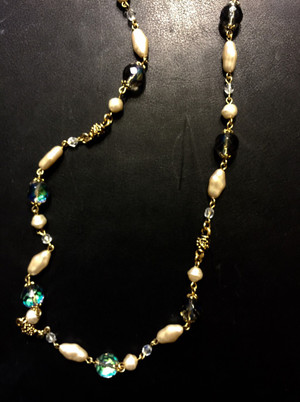 Abalone tone Crystal Pearl Necklace