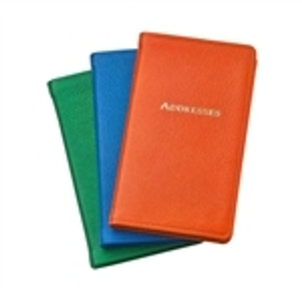 Pocket Address Book - Bright Leather - Orange, Grass Green, Ocean Blue, Sunset Pink, Purple