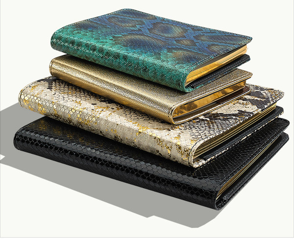 Refillable Journal in Peacock, Gold, Python, and Nightsky Black