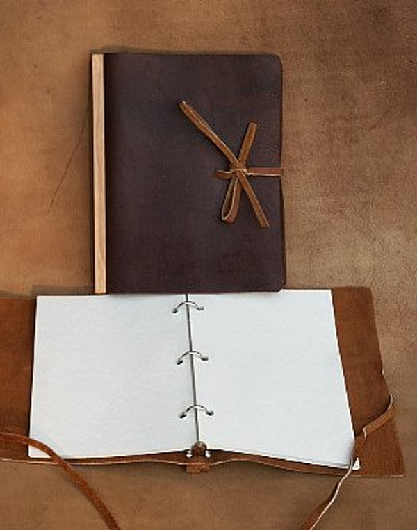 Milk Chocolate brown, 3-ring binder with tie closure, closed & open views