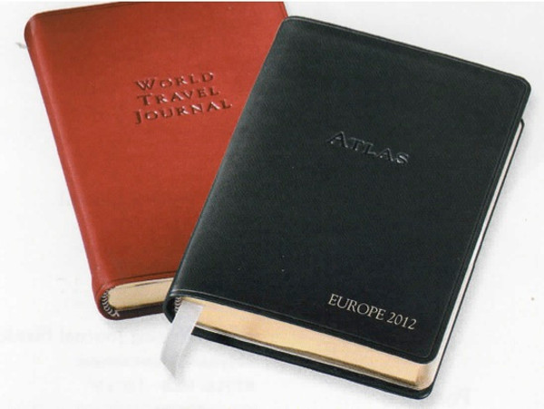 World Travel Journal - shown in British Tan with coordinating World Atlas  The perfect combo for any journey