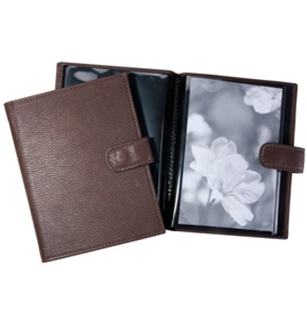 Pocket Photo Album - Mocha Brown with Snap Closure