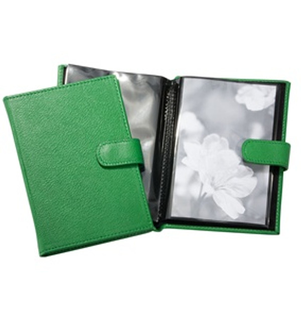 Pocket Photo Album - Green Leather with Snap Closure