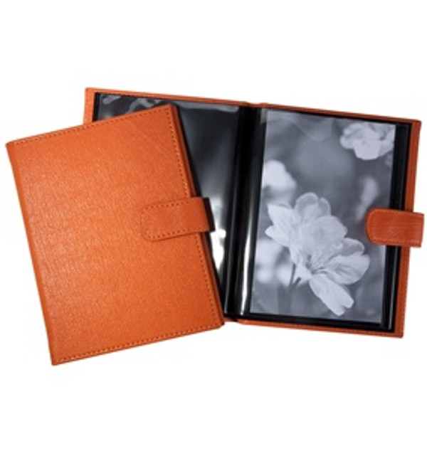 Pocket Photo Album - Orange Leather with Snap Closure