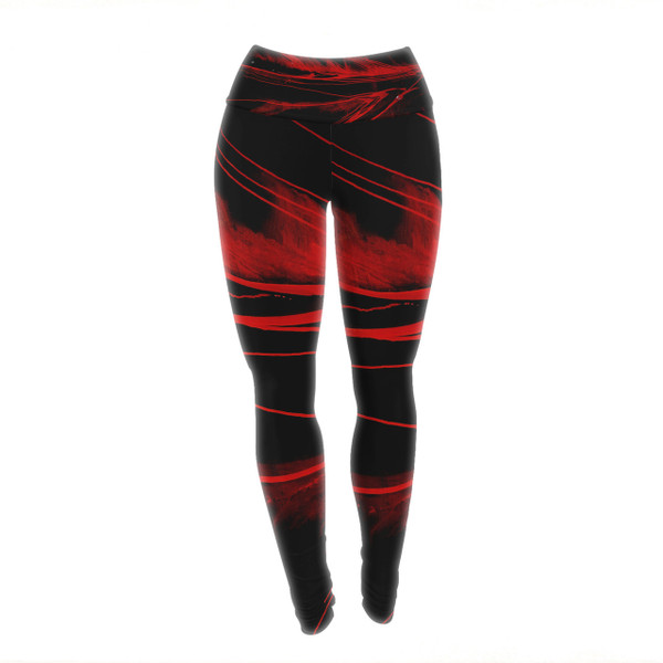 Volcanic Red and Black Yoga Pants/Leggings - feel the power of the Earth within