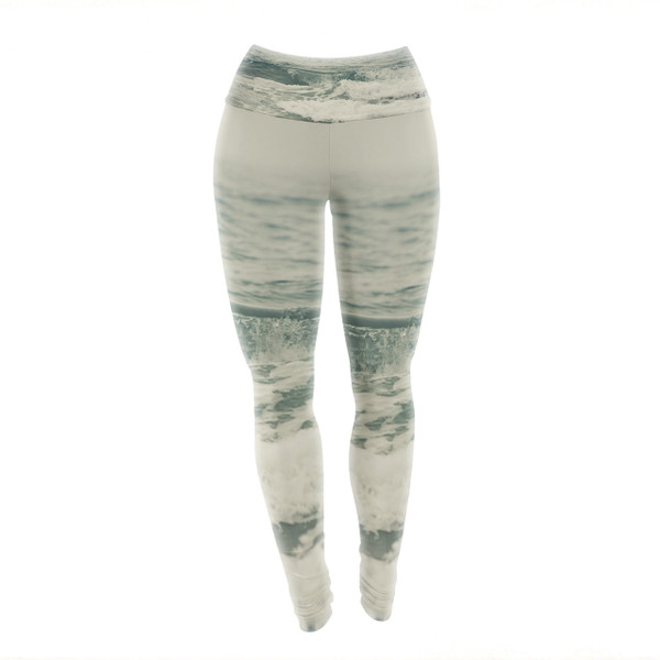 Crashing Waves Teal Yoga Pants/Leggings - settle in and the foam settles all around you