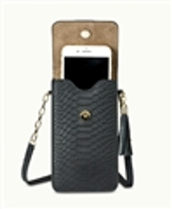Python Leather - Interior Phone Pocket - Fits ALL Current phones -up to iPhone 7 & Android -  Night Sky Black