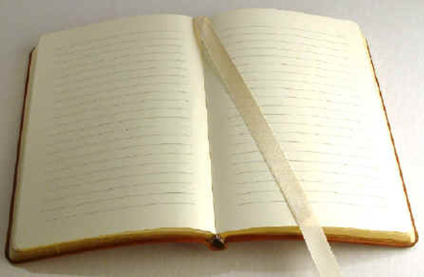 Open view with lined pages and satin page marker