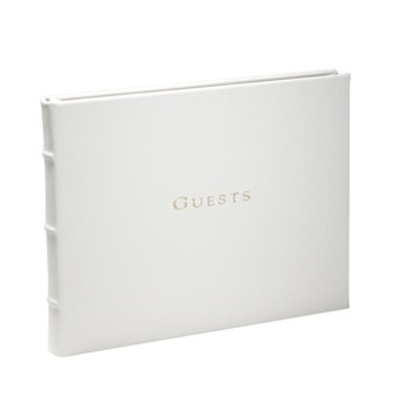 White Leather Wedding Guest Book