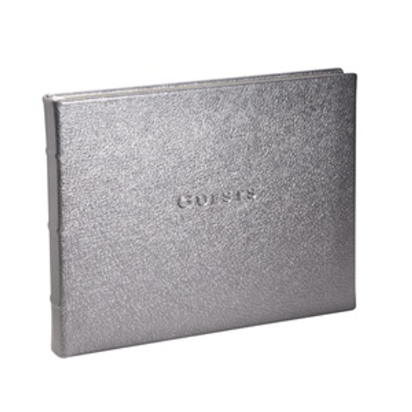 Silver Leather Wedding / Anniversary Guest Book