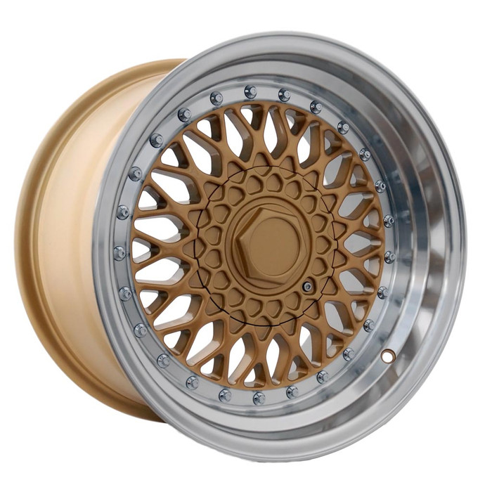 15x8.0 DRRS 4x100/108 ET15 CB73.1 Gold polished lip - max load 690kg