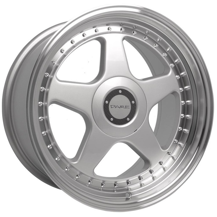 17x7.5 Dare F5 4x100/4x108 ET35 CB73.1 Silver polished lip - max load 690kg
