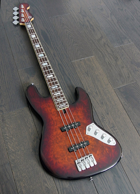 Maruszczyk Instruments - ELWOOD 4A - 4 String Active Bass in Charcoal Burst - Golden Madron Top