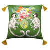 Silk Painted Square Pillow | Playing Monkeys on Green