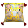 Silk Painted Square Pillow   Playing Monkeys on Yellow