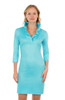 Gretchen Scott Ruffneck Jersey Dress Solid Turquoise
