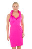 Gretchen Scott Ruffneck Jersey Sleeveless Dress Solid Pink