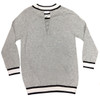 Gucciesque Crew Neck Lace Back Sweater   Gray