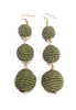 Three Tiered Beaded Ball Earring | Beige