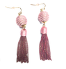 Tassle Ball Earrings | Pink Metallic