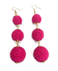 Three Tiered Beaded Ball Earring | Fuchsia
