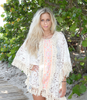 Lace Cover Up with Fringe | White