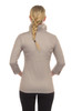 Gretchen Scott Ruffneck Jersey Top- 3/4 Sleeve | Taupe