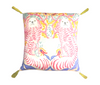 Silk Painted Square Pillow | Dogs on Beige with Pink and Yellow