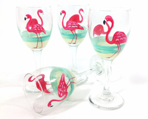 Flamingo Beach Red Wine Glasses (set of 4)
