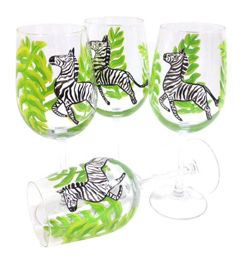 Black and White Zebra Large Wine Glasses (set of 4)