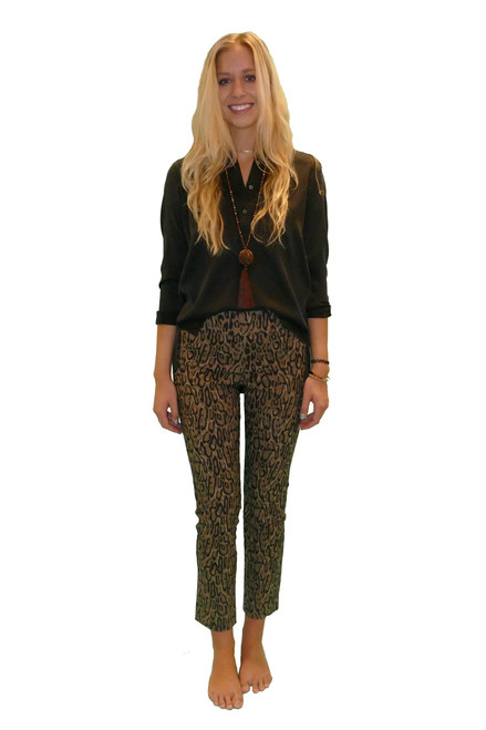 Krazy Larry Pull On Taupe Tiger Ankle Pant