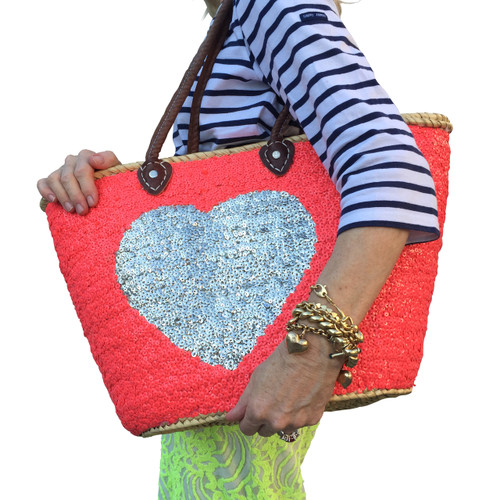 Bright Pink Sequin Silver Heart Large Tote