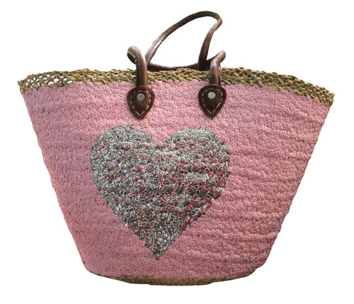 Baby Pink Sequin Silver Heart Large Tote