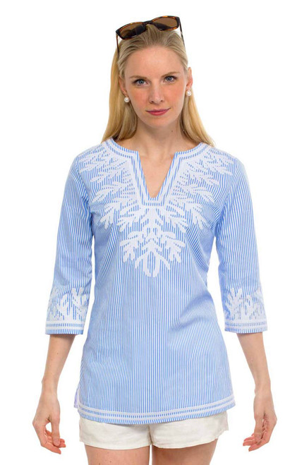 Gretchen Scott The Reef Wash-and-Wear Pinstripe Embroidered Tunic Blue/White