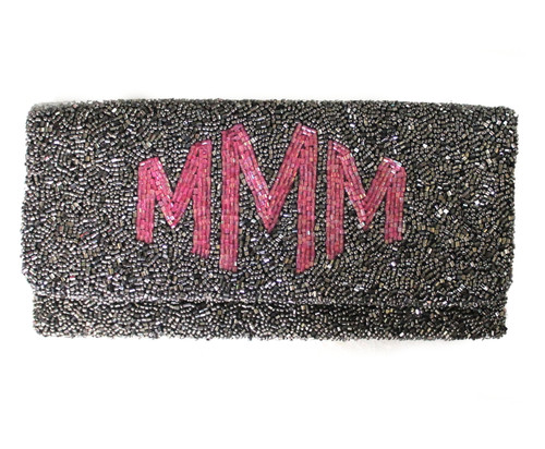 Open @ Your Own Risk | Grey & Pink Beaded Foldover Clutch