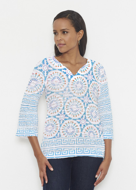 Before & Again | Banded 3/4 Bell Sleeve Tunic | Luso-Moroccan Aqua