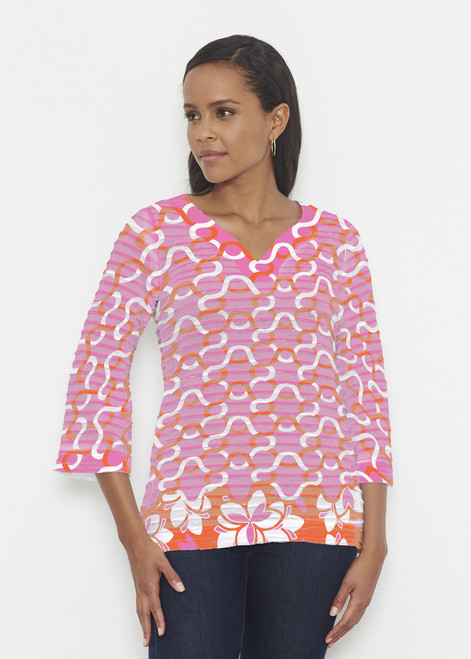 Before & Again | Banded 3/4 Bell Sleeve Tunic | Squiggles Pink