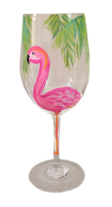 Flamingo Party Hand Painted Acrylic White Wine Glass