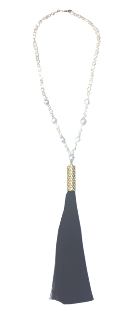 Long Pearl Strand Tassel Necklace