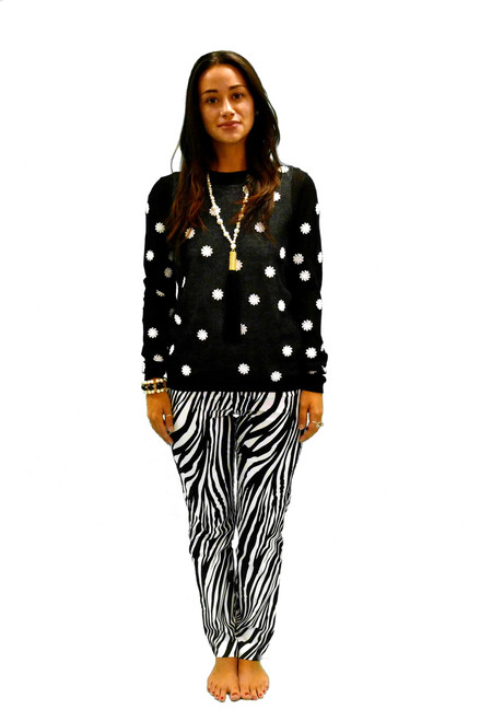 Krazy Larry Pull On Zebra Pants | Black