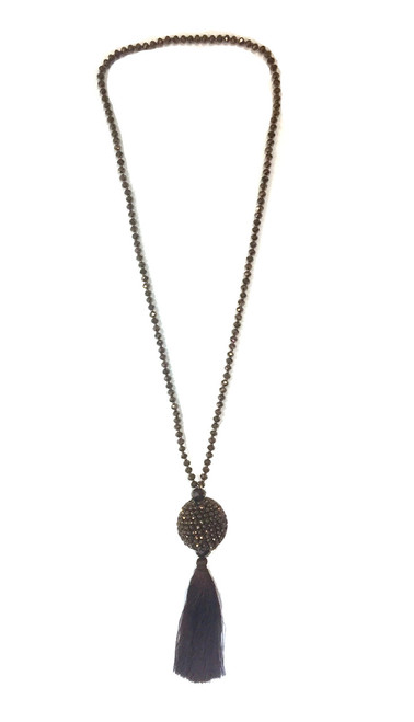 Disco Tassel Ball Necklace | Bronze