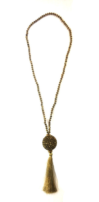 Disco Tassel Ball Necklace | Gold