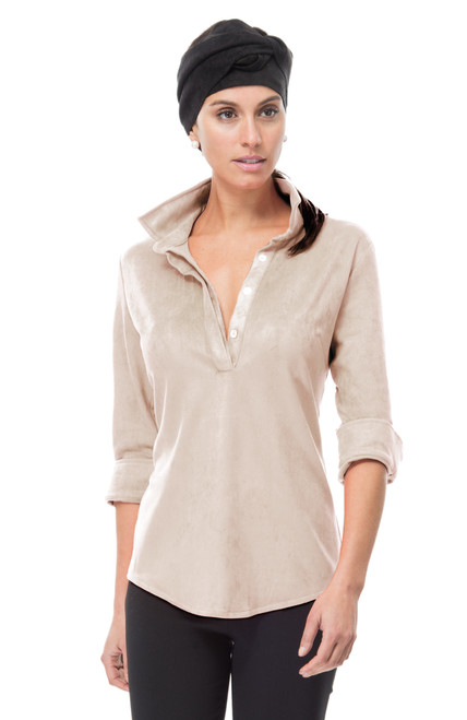 Gretchen Scott Suede Popover Top | Latte