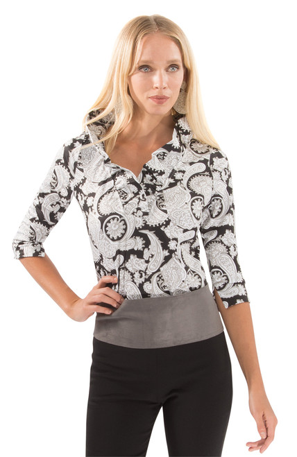 Gretchen Scott Plentiful Paisley 3/4 Sleeve Ruffneck Jersey Top | Neutra